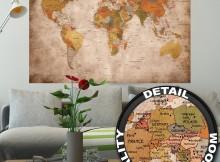Poster fotomurale mappa antica mondo